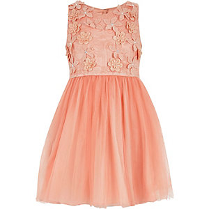 Girls coral floral embellished prom dress