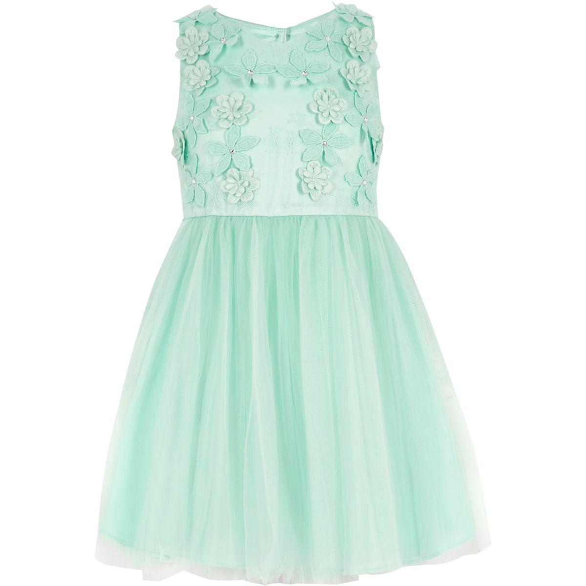 Girls green floral embellished prom dress