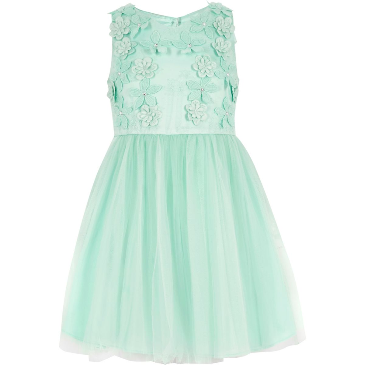 Robe de bal à fleurs ornée verte pour fille