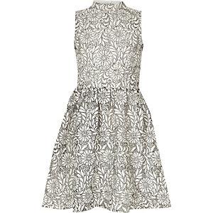 Girls white mono lace high neck prom dress