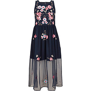 Girls navy embellished mesh maxi dress