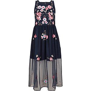 Robe longue en tulle bleu marine ornée pour fille