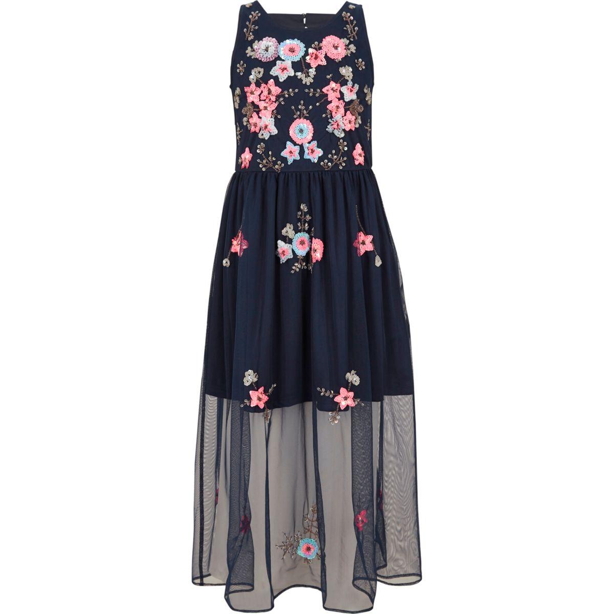 Girls navy embellished mesh maxi dress