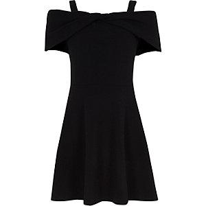 Robe patineuse Bardot noire avec nœud pour fille