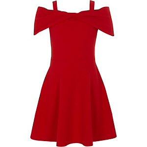 Girls red bow front cold shoulder dress