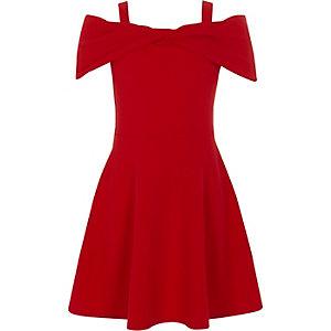 Girls red bow front cold shoulder dress