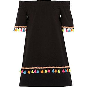 Robe Bardot noire à pampilles pour fille