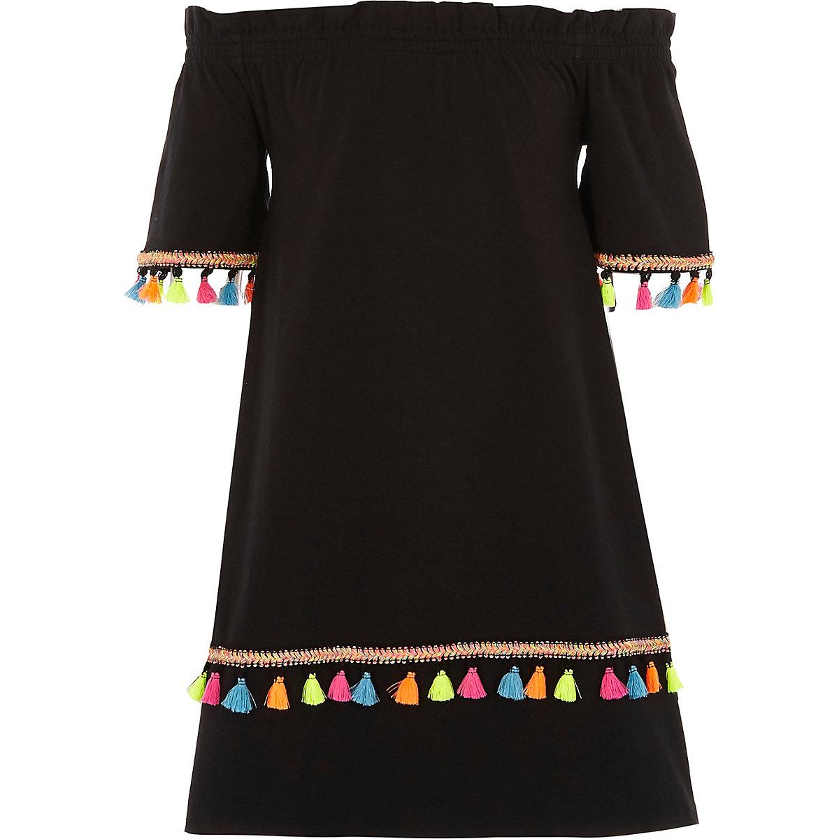 Girls black tassel trim bardot dress