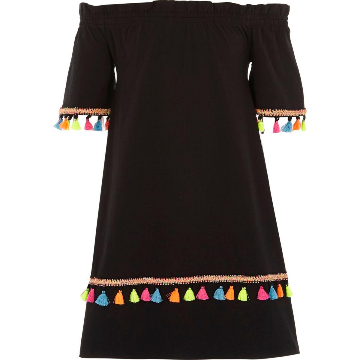 Schwarzes Bardot-Kleid mit Quastenverzierung