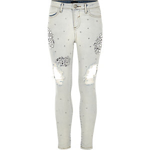 Girls blue Amelie embellished ripped jeans