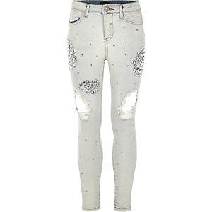 Amelie - Blauwe versierde ripped jeans voor meisjes