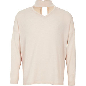 Girls light pink choker neck sweater