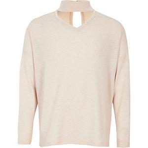 Girls light pink choker neck sweater