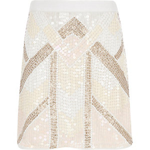 Girls pink sequin A-line skirt