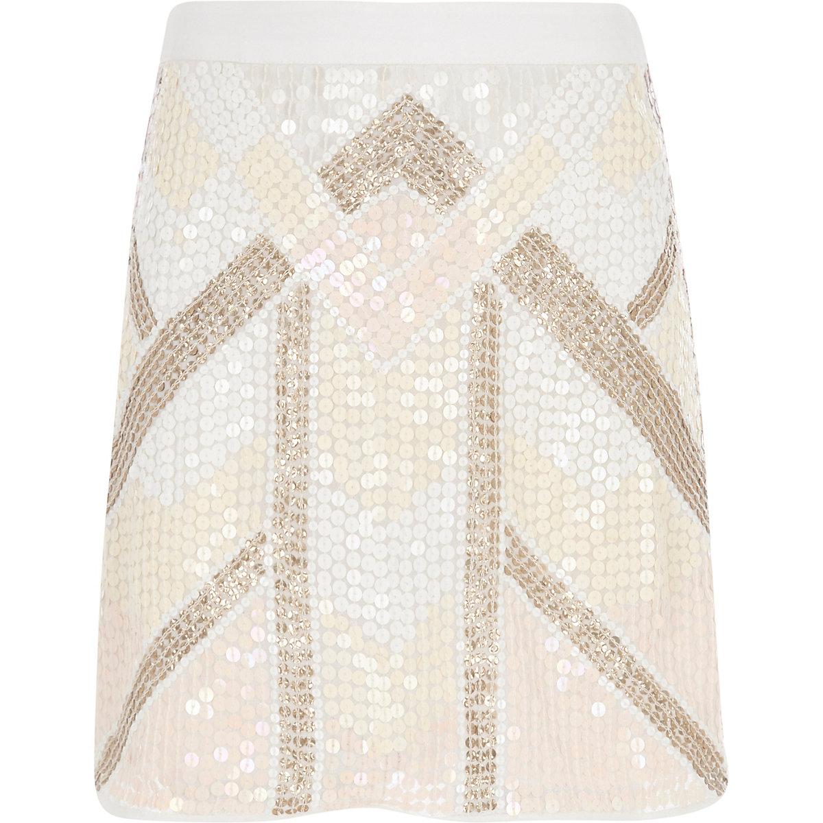 Girls pink sequin A-line skirt