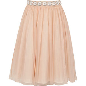 Girls pink pearl trim mesh ballerina skirt