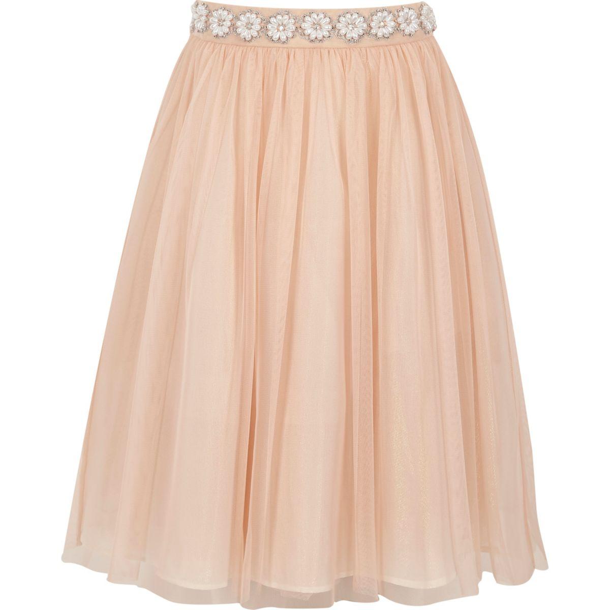 Girls pink pearl trim mesh ballerina skirt
