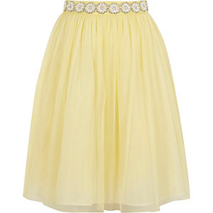 Girls yellow pearl trim mesh ballerina skirt