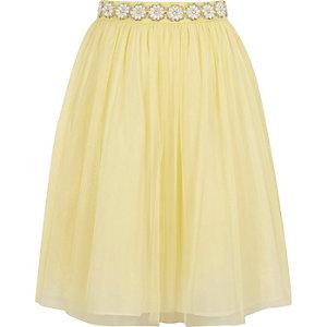 Gele mesh ballerinarok met pareltjes voor meisjes