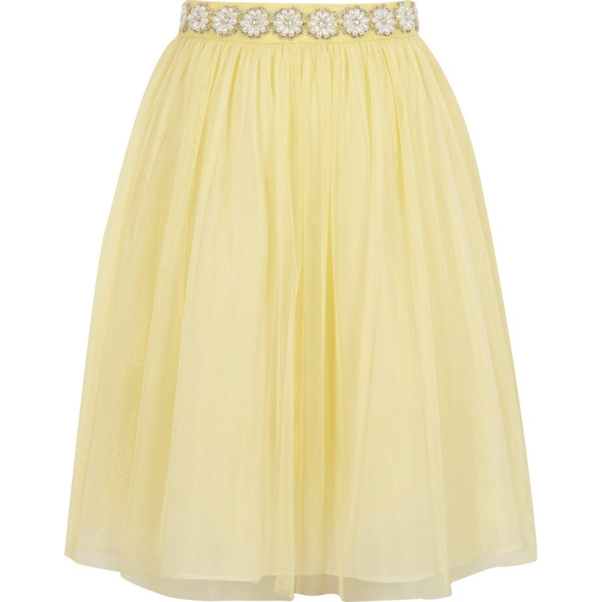 Girls yellow pearl trim mesh ballerina skirt