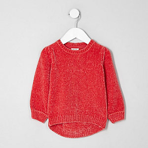 Mini girls red chenille knit sweater