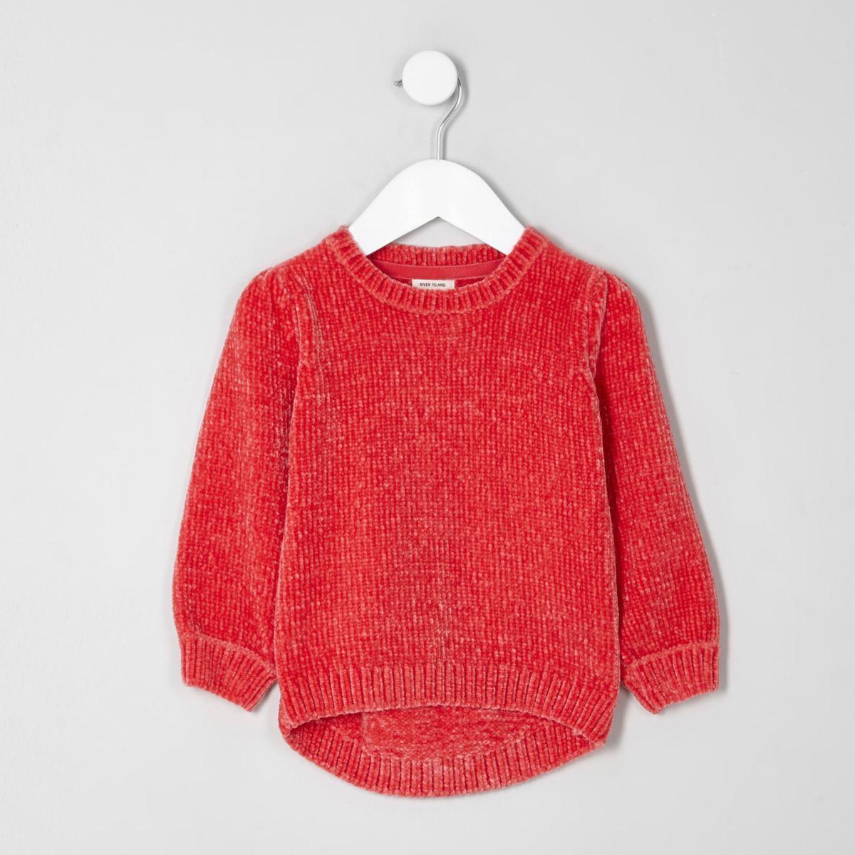 Mini girls red chenille knit sweater