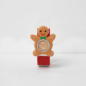 Kids red gingerbread man snap on watch