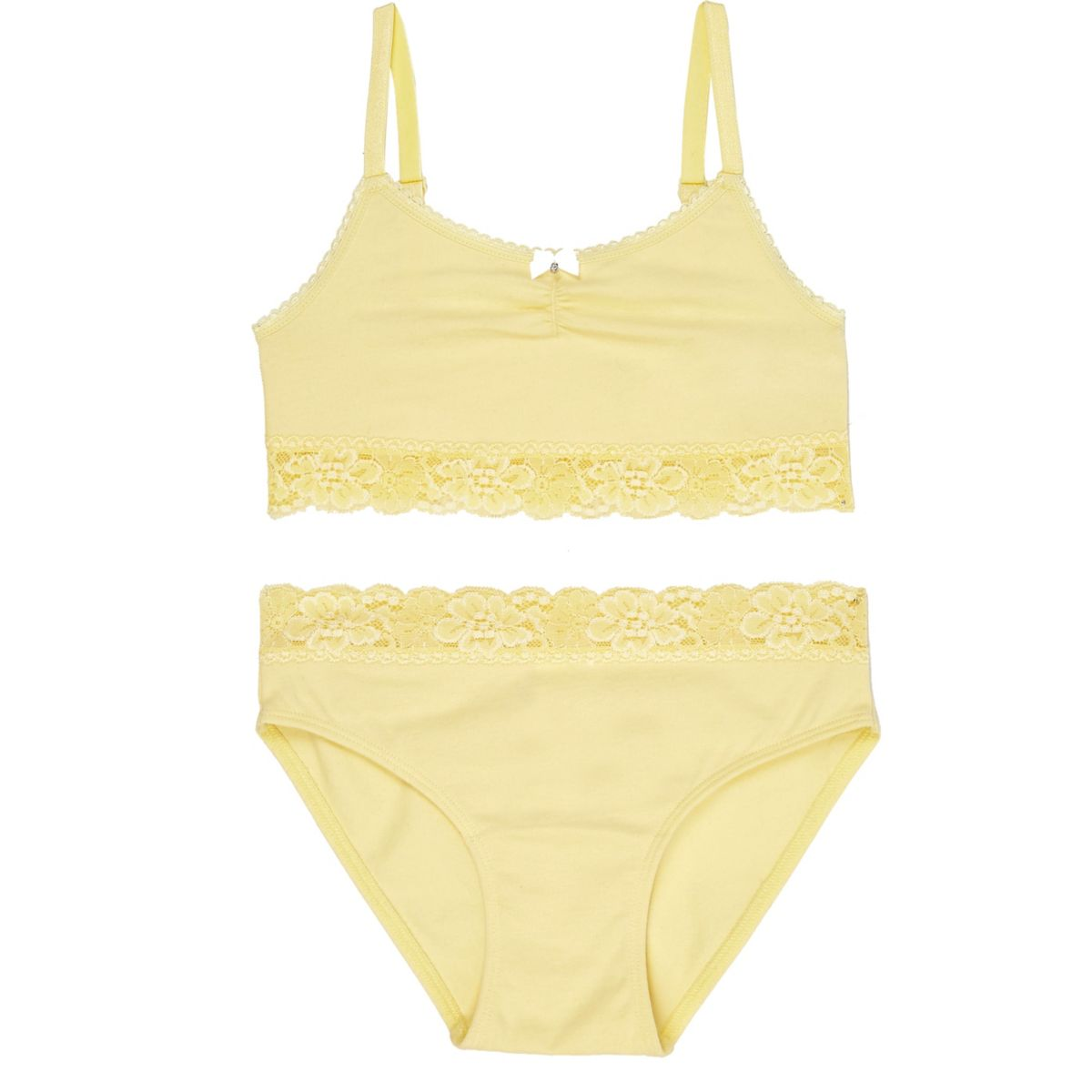 Girls yellow lace crop top and knickers set