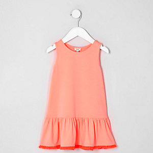 Mini girls coral pink peplum tassel hem dress