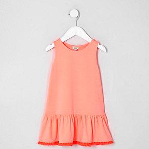 Mini girls coral pink peplum tassel hem dress