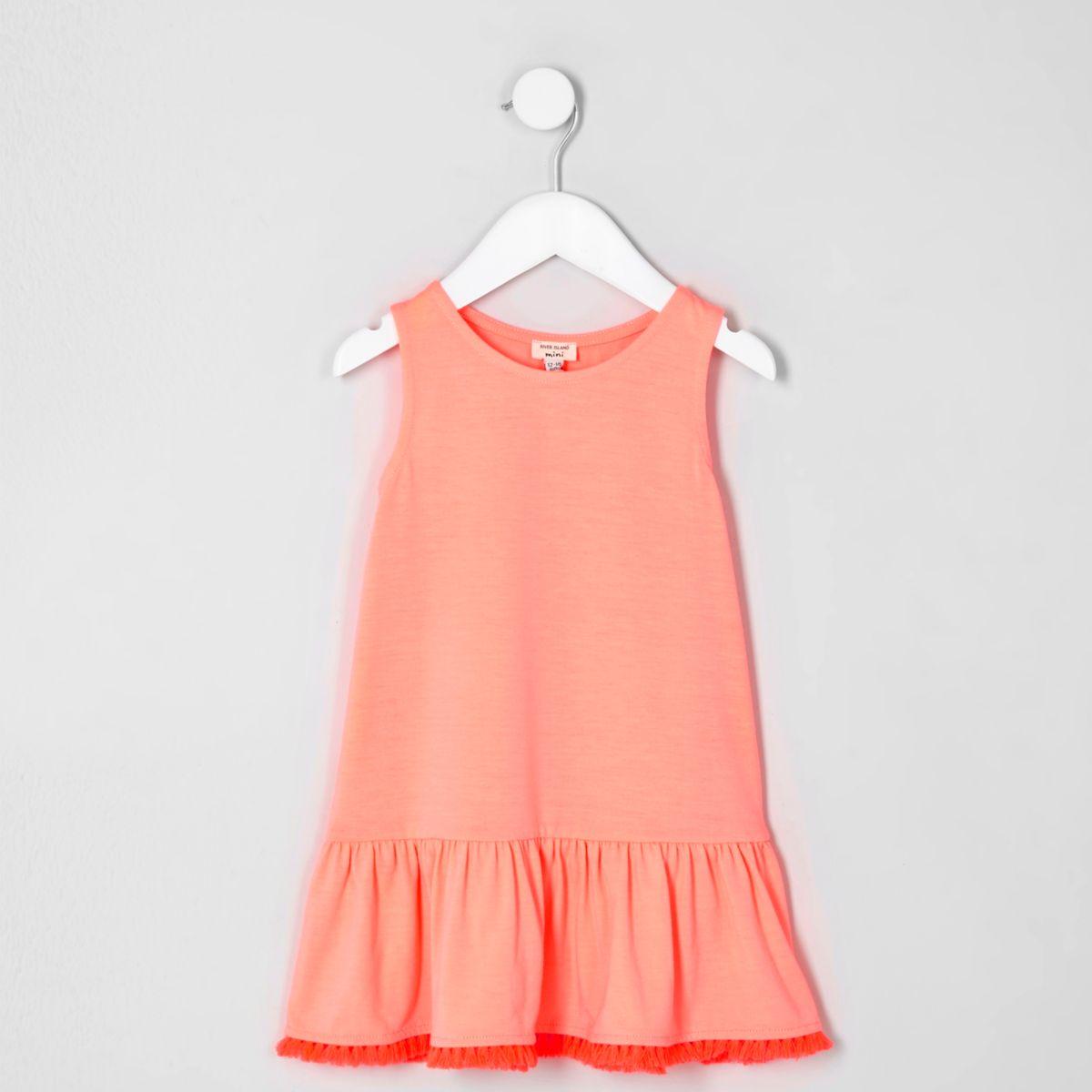 Robe rose corail à ourlet à basques avec pampilles mini fille
