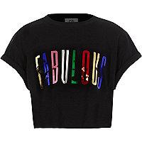 Girls black 'fabulous' metallic print T-shirt