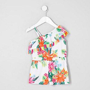 Combi-short à fleurs blanc avec volants et franges mini fille