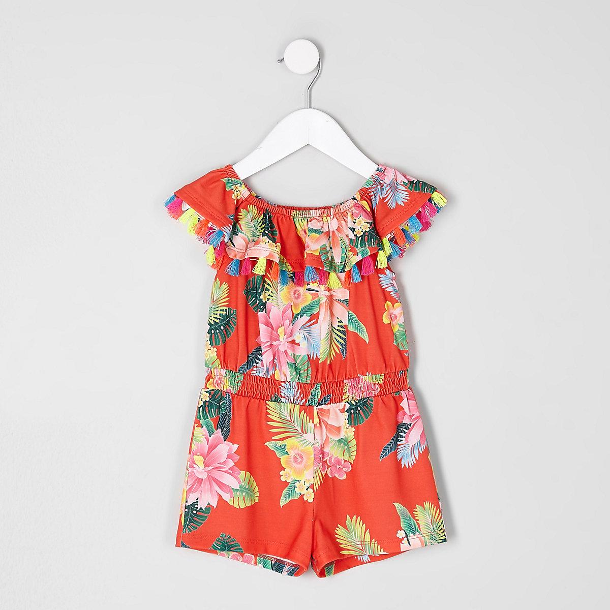 Mini girls red tropical frill bardot playsuit