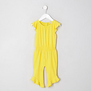 Mini girls yellow shirred frill hem jumpsuit