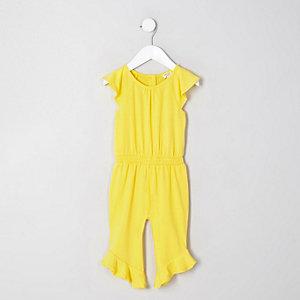 Mini girls yellow shirred frill hem jumpsuit