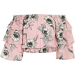 Girls pink floral frill sleeve bardot top