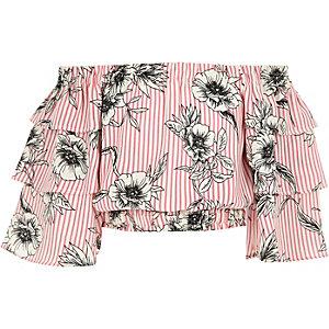 Haut Bardot à fleurs rose avec manches à volants pour fille