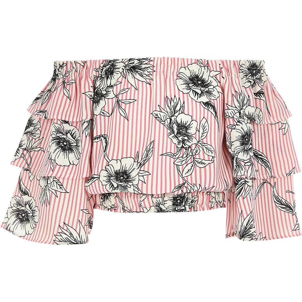 Pinkes Bardot-Oberteil mit Blumenmuster