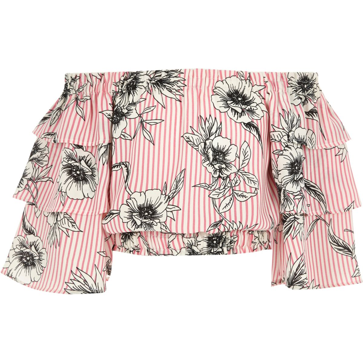 Girls pink floral frill sleeve bardot top