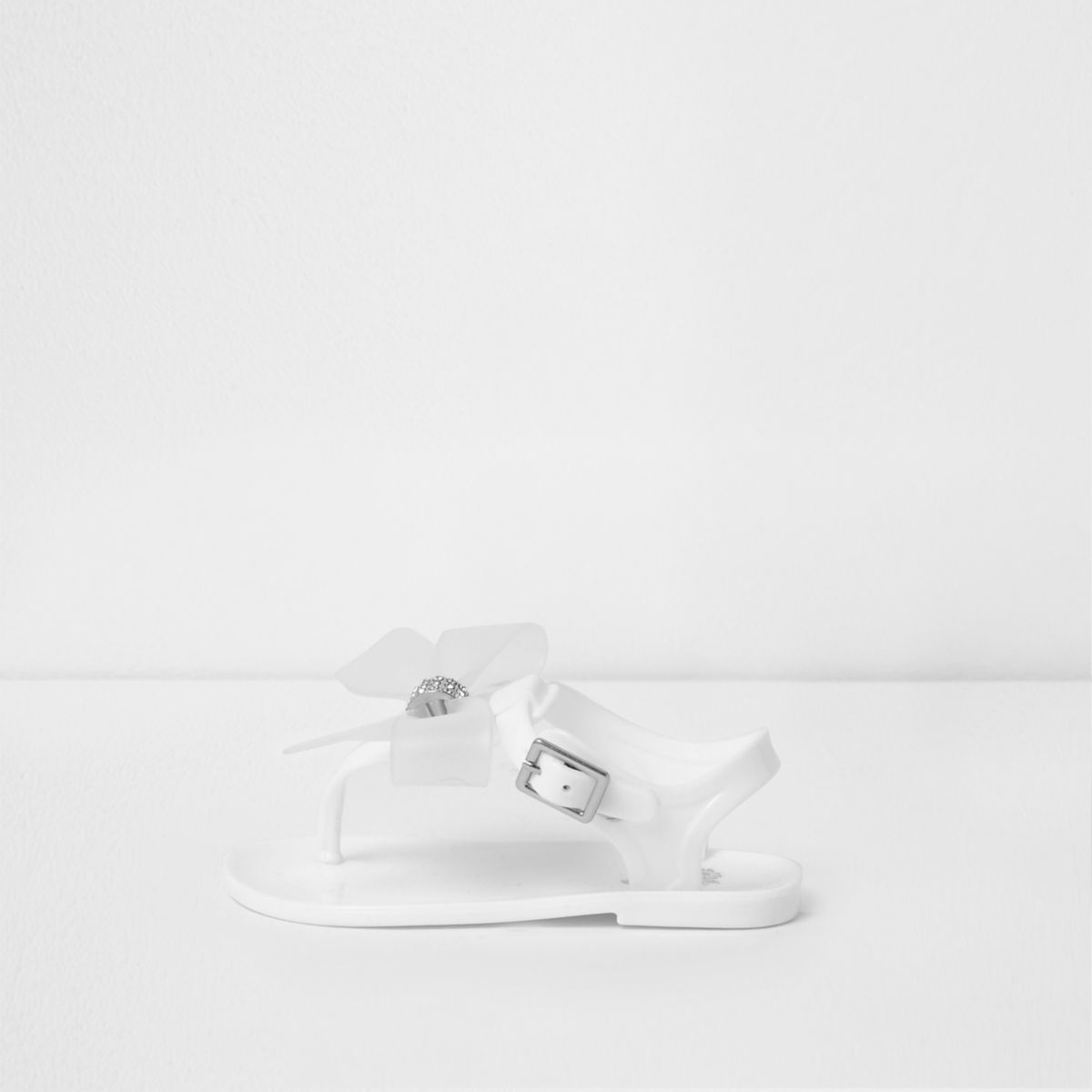Mini girls white diamante bow jelly sandals