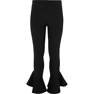Girls black flare frill hem leggings