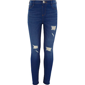 ​Molly – Blaue Skinny Jeggings im Used Look