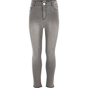 Girls grey high rise Molly jeans
