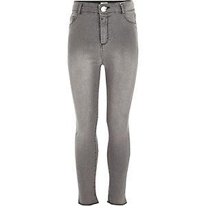Molly - Grijze jeans met hoge taille voor meisjes