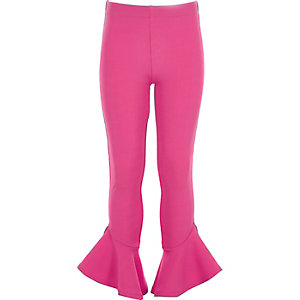 Girls pink flared frill hem leggings