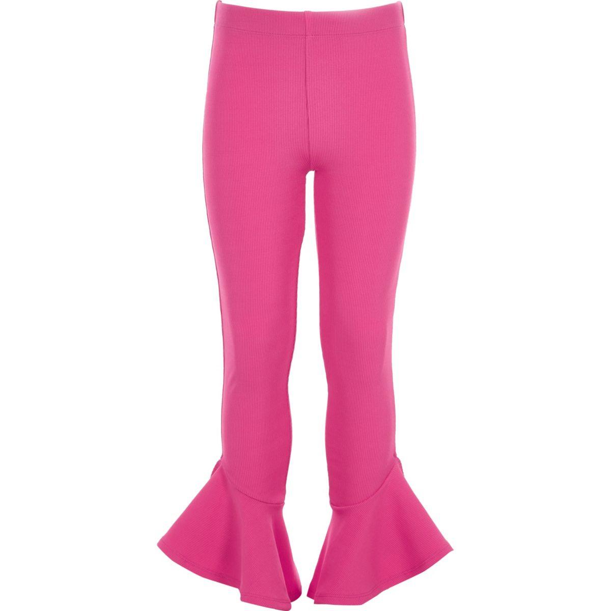 Girls pink flared frill hem leggings