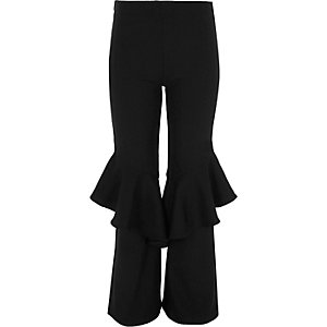 Girls black frill flare ribbed leggings