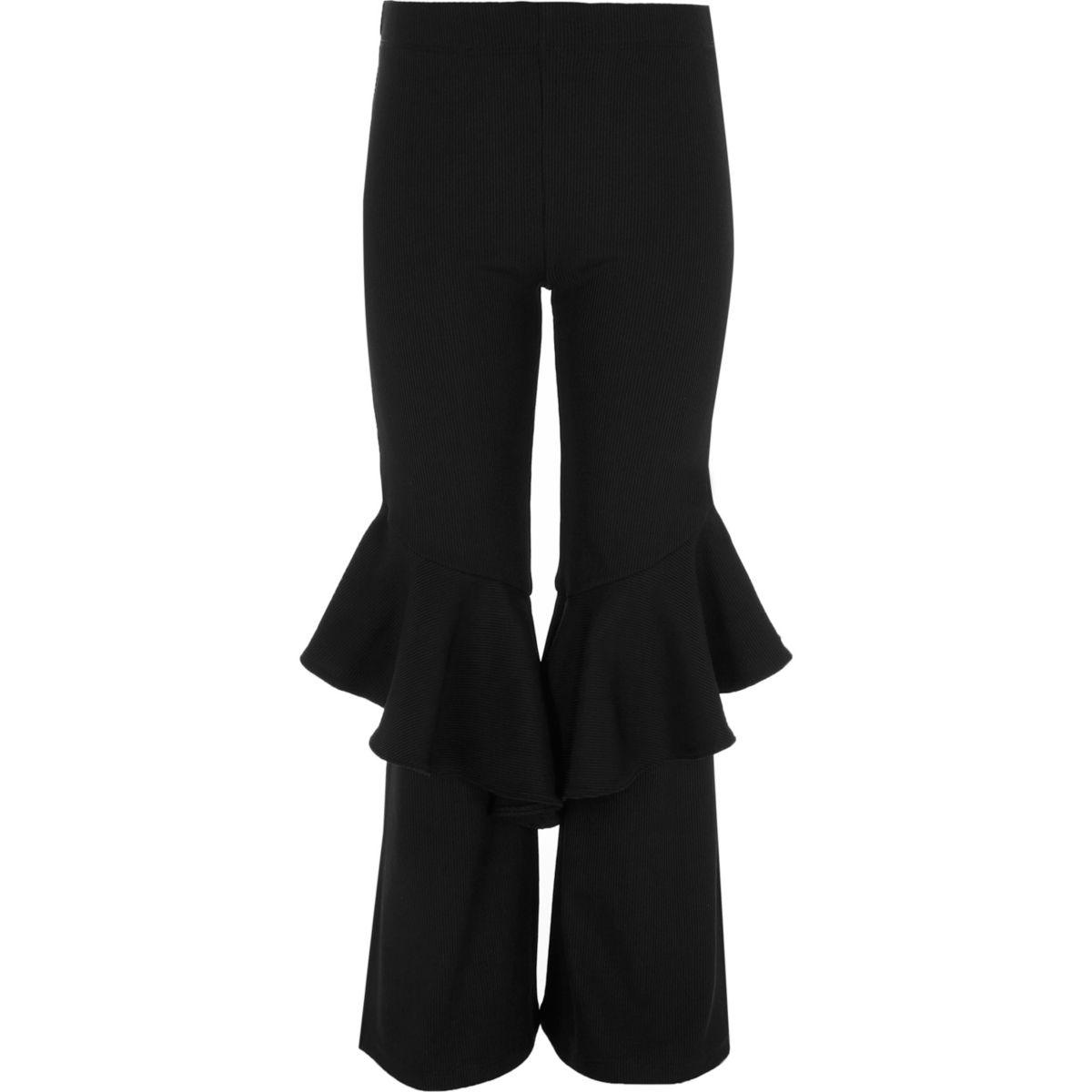 Girls black frill flare ribbed leggings