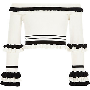 Girls white RI studio bardot knitted top